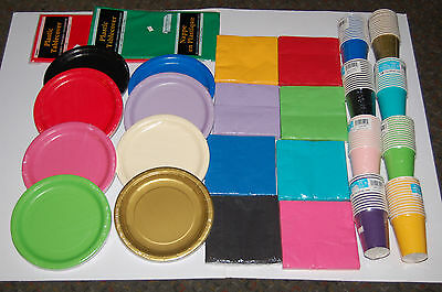 £1.60 • Buy Paper Plates Cups Napkins Table Cloths 19 Colours Wedding