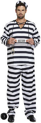 Fancy Dress Adult Halloween Prisoner Convict Two Sizes • 9.75£