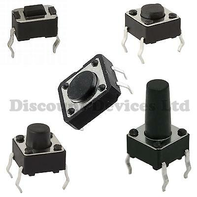 Quality Momentary Tactile Push Button Switch SPST Miniature Mini Micro Small PCB • 1.69£