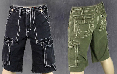 True Religion Jeans Men's ISAAC Cargo Shorts Green Or Black MAR841EH • 116.02£