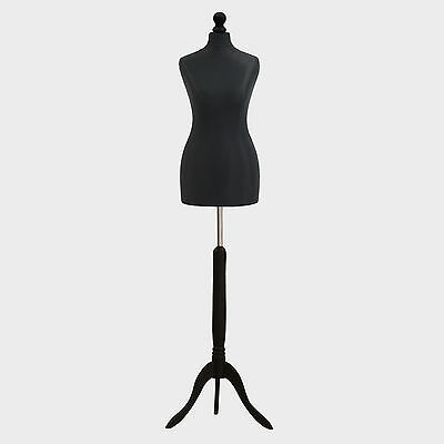 Female Tailors Dummy Bust Black UK 6/8 Sewing Fashion Student Mannequin Display • 27.89£