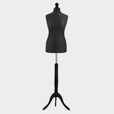 Female Tailor Dummy Bust Black UK 12/14 Sewing Fashion Student Mannequin Display • 27.89£