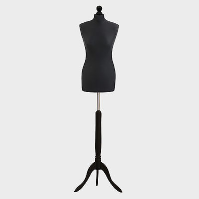 Female Tailor Dummy Bust Black UK 10/12 Sewing Fashion Student Mannequin Display • 27.89£