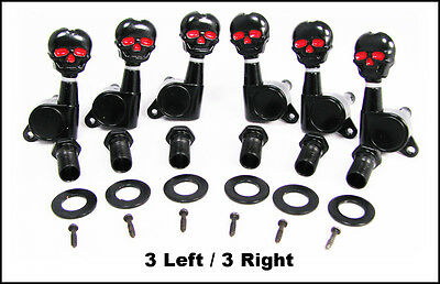 $ CDN23.99 • Buy Black Skull Electric Guitar Tuners/Machine Heads - 3 Left/3 Right