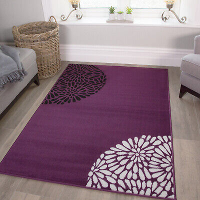 Small Large Purple Aubergine Modern Rugs Quality Soft Floral Living Room Rugs UK • 49.95£