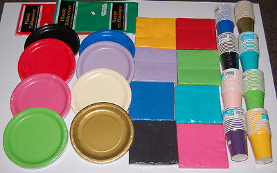 £0.99 • Buy Paper Plates Napkins Cups Plastic Cutlery Table Cloth Bowls 20 Colours Wedding