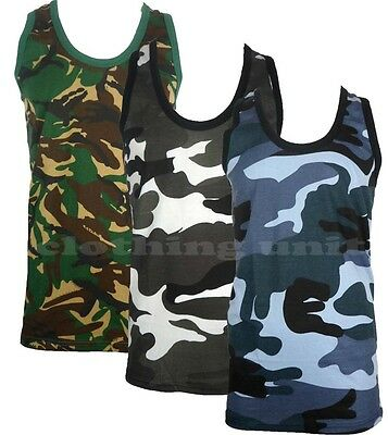 £5.99 • Buy Mens Camouflage Sleeveless Cotton Vest Army Combat Gym Muscle Big S-5XL