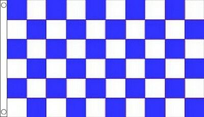Chequered Blue And White Flag Football Flag Everton Fa Cup Semi  5ft X 3ft • 3.25£