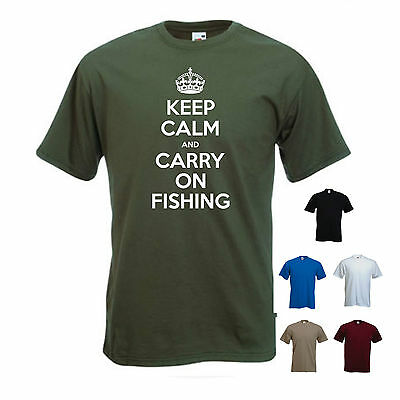 'Keep Calm And Carry On Fishing'. - Funny Mens Fishing T-shirt. S-XXL • 11.69£