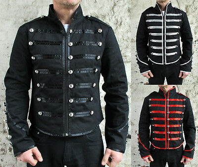 Military Parade Jacket Tunic Rock Black Red Silver New Gothic Steampunk Army • 39.99£
