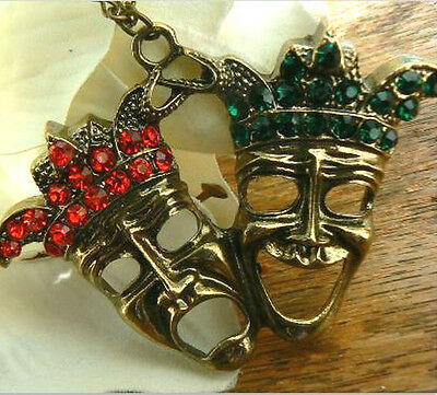 £6.99 • Buy Comedy & Tragedy Masks Necklace Theatricl Arts Necklace Kitsch Gift For Her Him