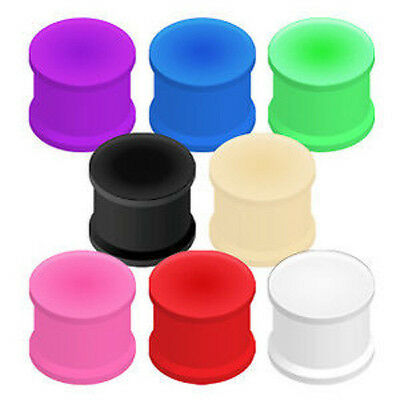 $6.50 • Buy PAIR Solid Silicone Plugs Earlets Gauges 8g,6g,4g,2g,0g,00g + Large Sizes To 2