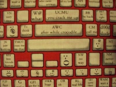 $3.05 • Buy Keyboard Typing Computer Emoticons Red Black Cotton Fabric Fq Oop