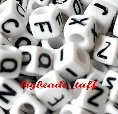 100pcs 6mm White Cube Alphabet Single Letter Acrylic Beads A - Z • 1.49£