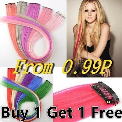 Rainbow Clip In Highlight Streaks Festival Long Like Human Hair Extensions UK  • 1.78£