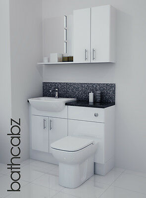£695 • Buy White Gloss Bathroom Fitted Furniture 1100mm With Wall Units / Mirror