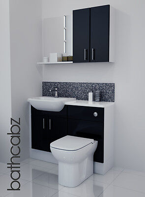 £695 • Buy Black Gloss Bathroom Fitted Furniture 1100mm With Wall Units / Mirror