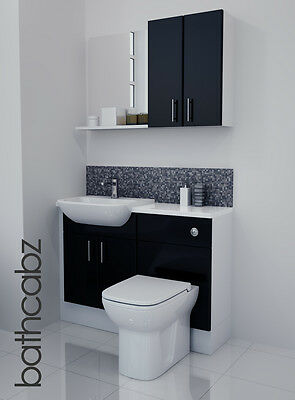 Black Gloss Bathroom Fitted Furniture 1100mm With Wall Units / Mirror • 695£