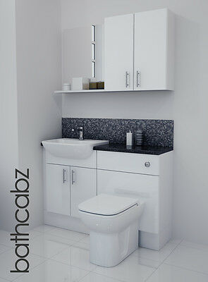 White Gloss Bathroom Fitted Furniture 1200mm With Wall Units / Mirror • 695£
