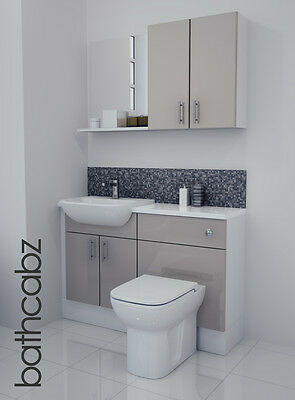 Latte Gloss Bathroom Fitted Furniture 1200mm With Wall Units / Mirror • 695£