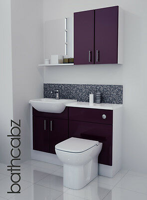 Aubergine Gloss Bathroom Fitted Furniture 1200mm With Wall Units / Mirror • 695£