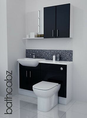 Black Gloss Bathroom Fitted Furniture 1200mm With Wall Units / Mirror • 695£