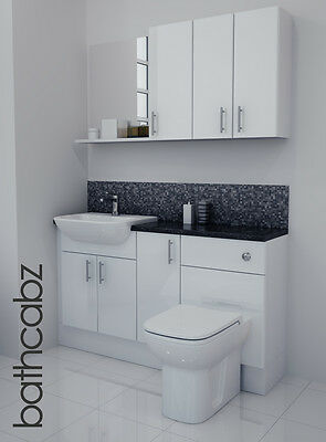 White Gloss Bathroom Fitted Furniture 1400mm With Wall Units / Mirror • 895£
