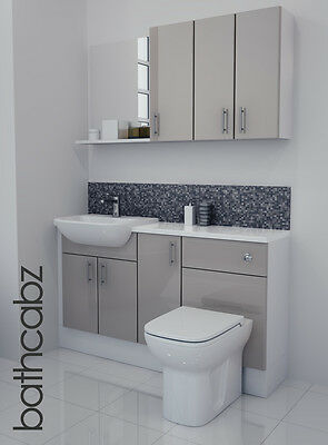 £895 • Buy Latte Gloss Bathroom Fitted Furniture 1400mm With Wall Units / Mirror