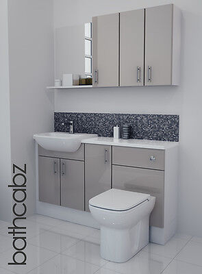Latte Gloss Bathroom Fitted Furniture 1400mm With Wall Units / Mirror • 895£