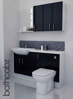 Black Gloss Bathroom Fitted Furniture 1400mm With Wall Units / Mirror • 895£