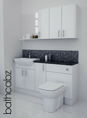 £895 • Buy White Gloss Bathroom Fitted Furniture 1500mm With Wall Units / Mirror