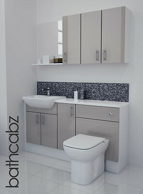 Latte Gloss Bathroom Fitted Furniture 1500mm With Wall Units / Mirror • 895£