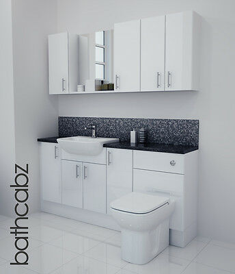 White Gloss Bathroom Fitted Furniture 1700mm With Wall Units / Mirror • 1,045£