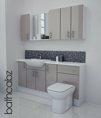 £1045 • Buy Latte Gloss Bathroom Fitted Furniture 1700mm With Wall Units / Mirror