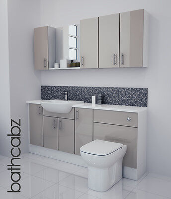 Latte Gloss Bathroom Fitted Furniture 1800mm With Wall Units / Mirror • 1,085£