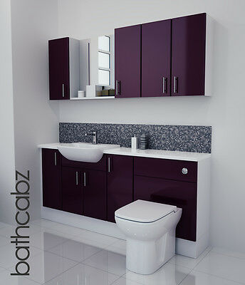 Aubergine Gloss Bathroom Fitted Furniture 1800mm With Wall Units / Mirror • 1,085£