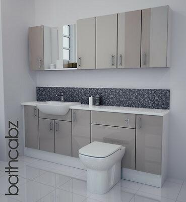 £1250 • Buy Latte Gloss Bathroom Fitted Furniture 2100mm With Wall Units / Mirror