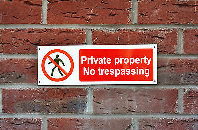 Private Property No Trespassing Plastic Or Metal Sign Or Sticker 300mmx100mm • 1.14£