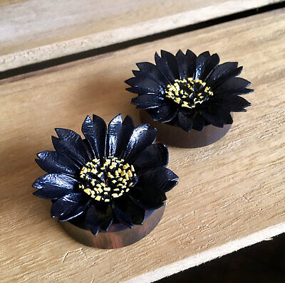 $17.95 • Buy PAIR Black Leather Flower Plugs Tunnels Gauges Earlets Body Jewelry
