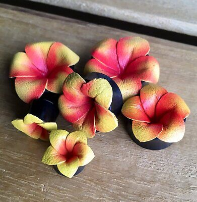 $15.95 • Buy PAIR Yellow & Pink Leather Flower Plugs Tunnels Gauges Earlets Body Jewelry