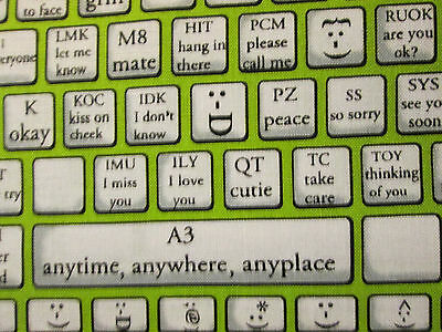 $3.08 • Buy Keyboard Typing Computer Phone Tablet Emoticons Green Cotton Fabric Fq