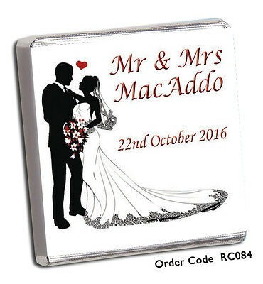 £17.98 • Buy 100 Personalised Chocolate Wedding Favours- AMAZING DESIGNS/OWN/ AND FREE CHOC !
