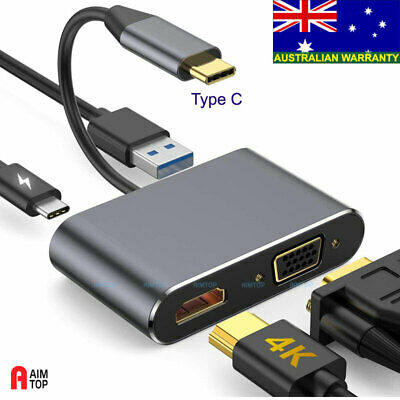 AU26.80 • Buy USB 3.1 Type C To 4K HDMI + VGA & USB A 3.0 + USB-C PD HUB For Win Mac Or Phone