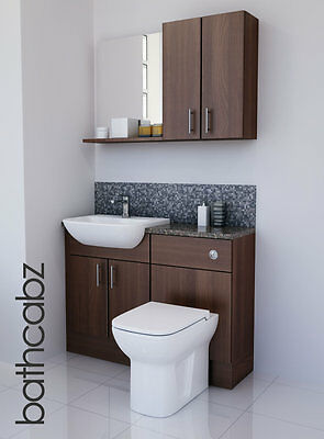American Walnut Bathroom Fitted Furniture 1100mm With Wall Units / Mirror  • 695£