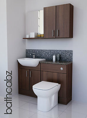 American Walnut Bathroom Fitted Furniture 1200mm With Wall Units / Mirror  • 695£