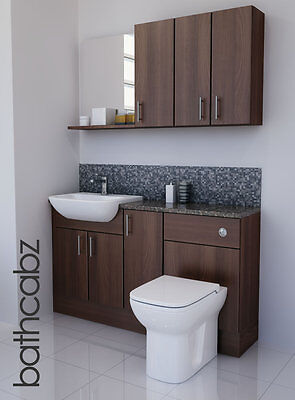 American Walnut Bathroom Fitted Furniture 1400mm With Wall Units / Mirror  • 895£