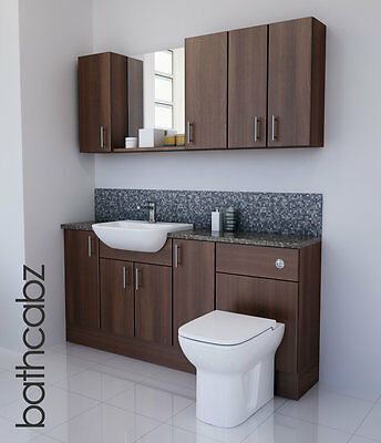American Walnut Bathroom Fitted Furniture 1700mm With Wall Units / Mirror  • 1,045£