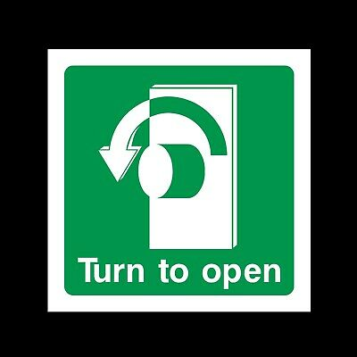 Turn Left To Open Plastic Sign OR Sticker - Fire Escape, Exit (EE40) • 0.99£