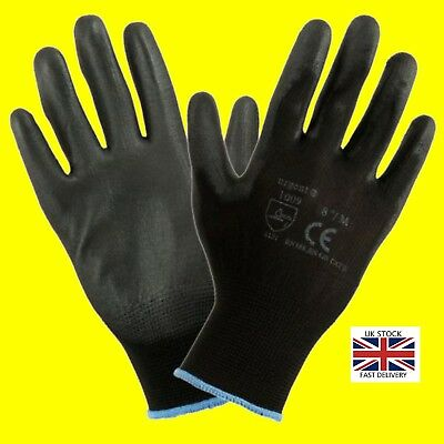 1,12 Or 24 Pairs  Black Nylon PU Safety Work Gloves Builders Grip Gardening • 13.99£