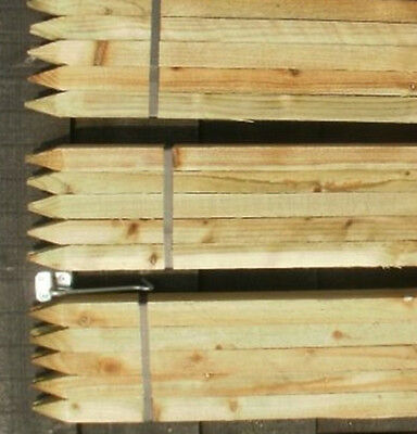 20 X 4ft (1.2m) Square & Pointed Wooden Pressure Treated Tree Stakes Posts Fence • 25.99£